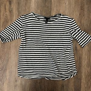 Who What Wear ~ linen blue & white striped T